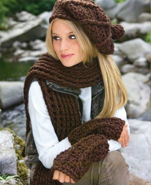 Схемы вязания шапок и шарфов,